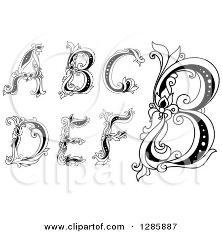 Clipart of Black and White Vintage Floral Capital Letters A, B, C, D, E and F - Royalty Free Vector Illustration by Vector Tradition SM