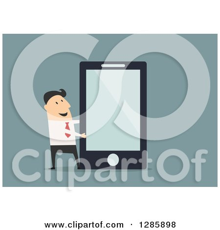 Clipart of a Businessman Presenting a Giant Smartphone or Tablet, over Blue - Royalty Free Vector Illustration by Vector Tradition SM