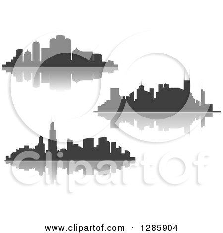 Clipart of Dark Gray Silhouetted City Skylines and Reflections - Royalty Free Vector Illustration by Vector Tradition SM
