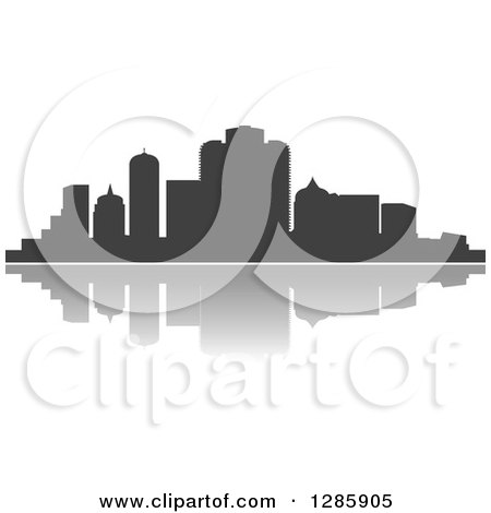 Clipart of a Dark Gray Silhouetted City Skyline and Reflection - Royalty Free Vector Illustration by Vector Tradition SM