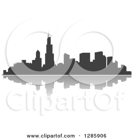 Clipart of a Dark Gray Silhouetted City Skyline and Reflection 2 - Royalty Free Vector Illustration by Vector Tradition SM