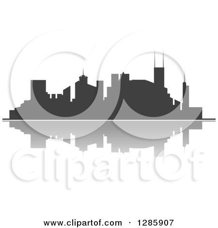 Clipart of a Dark Gray Silhouetted City Skyline and Reflection 3 - Royalty Free Vector Illustration by Vector Tradition SM