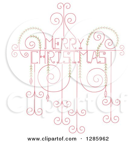 Clipart of a Swirl and Vine Merry Christmas Greeting in Red and Green - Royalty Free Vector Illustration by Cherie Reve