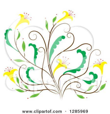 Clipart of a Brown and Green Floral Design Element with Yellow Flowers - Royalty Free Vector Illustration by Cherie Reve