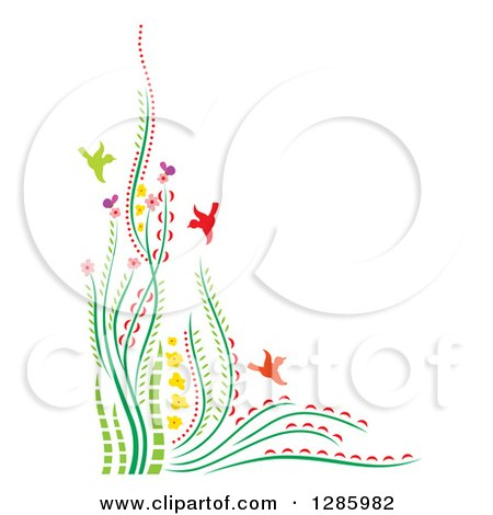 Clipart of a Colorful Corner Border of Flowers Plants and Birds with Text Space - Royalty Free Vector Illustration by Cherie Reve
