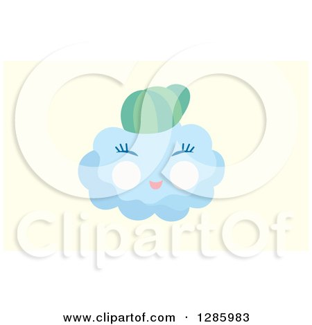 Clipart of a Baby Boy Cloud Wearing a Hat over Pastel Yellow - Royalty Free Vector Illustration by Cherie Reve
