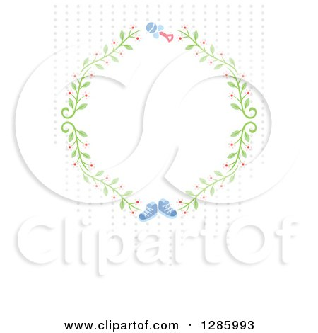 Clipart of a Floral Frame with a Rattle and Blue Baby Boy Shoes and Dots on off White - Royalty Free Vector Illustration by Cherie Reve