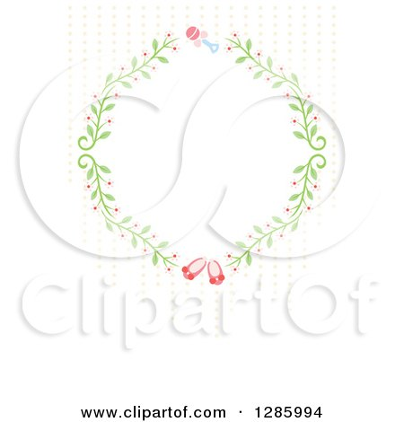 Clipart of a Floral Frame with a Rattle and Pink Baby Girl Shoes and Dots on off White - Royalty Free Vector Illustration by Cherie Reve