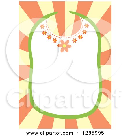 Clipart of a Floral Baby Bib Frame over Yellow and Orange Rays - Royalty Free Vector Illustration by Cherie Reve