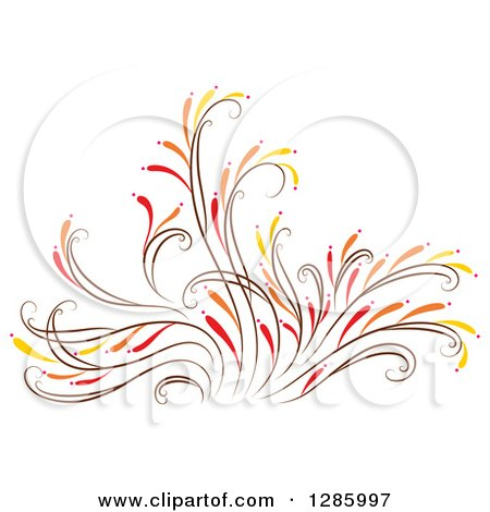 Clipart of a Brown Orange Red and Yellow Floral Design Element - Royalty Free Vector Illustration by Cherie Reve