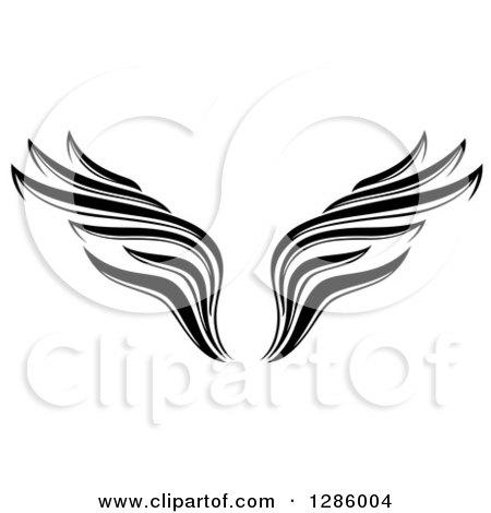 Clipart of a Black and White Wing Tattoo Design - Royalty Free Vector Illustration by Cherie Reve