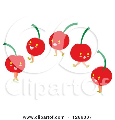 Clipart of Happy Cherry Characters - Royalty Free Vector Illustration by Cherie Reve