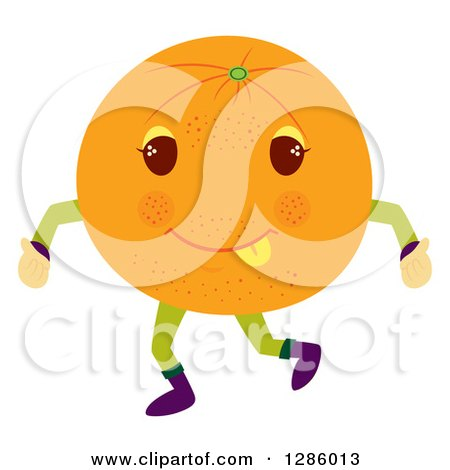 Clipart of a Happy Orange Character Giving Two Thumbs up - Royalty Free Vector Illustration by Cherie Reve