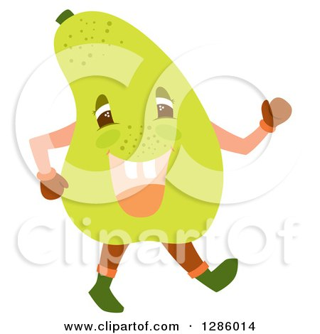 Clipart of a Happy Pear Character Walking - Royalty Free Vector Illustration by Cherie Reve