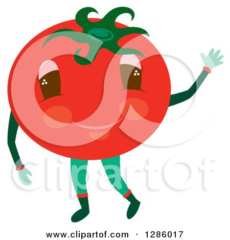 Clipart of a Waving Tomato Character - Royalty Free Vector Illustration by Cherie Reve