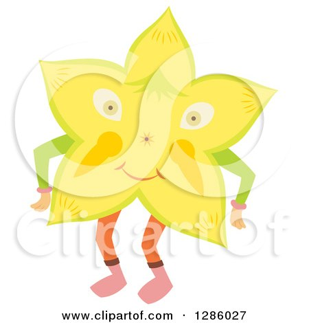 Clipart of a Happy Star Fruit Character - Royalty Free Vector Illustration by Cherie Reve