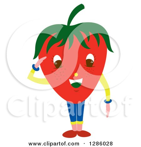Clipart of a Saluting Strawberry Head Character - Royalty Free Vector Illustration by Cherie Reve