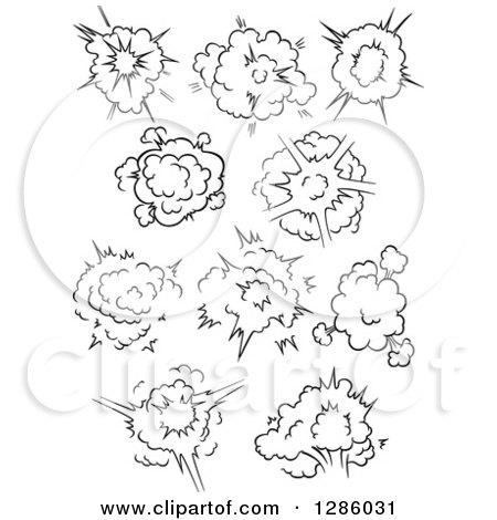 Clipart of Black and White Comic Bursts Explosions or Poofs 4 - Royalty Free Vector Illustration by Vector Tradition SM