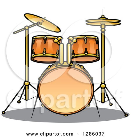 Clipart of a Brass Drum Set - Royalty Free Vector Illustration by Vector Tradition SM