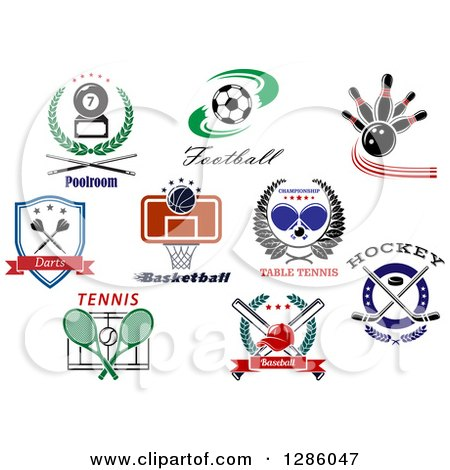 Clipart of Sports and Text Designs - Royalty Free Vector Illustration by Vector Tradition SM