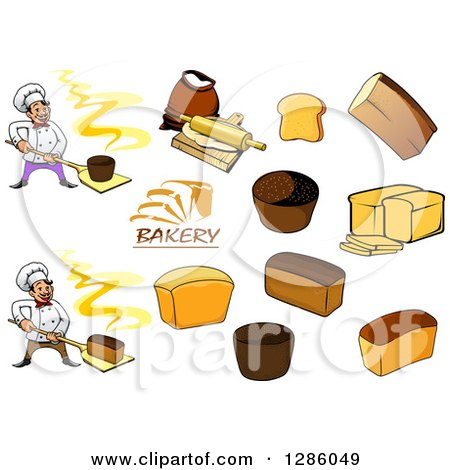 Clipart of Chef Bakers and Bread - Royalty Free Vector Illustration by Vector Tradition SM