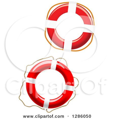 Clipart of Red and White Life Buoys - Royalty Free Vector Illustration by Vector Tradition SM