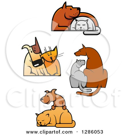Clipart of Cats and Dogs in Friendly Poses - Royalty Free Vector Illustration by Vector Tradition SM