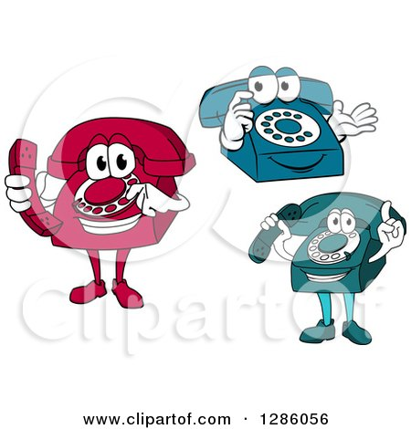 Clipart of Red, Blue and Teal Desktop Telephone Characters - Royalty Free Vector Illustration by Vector Tradition SM