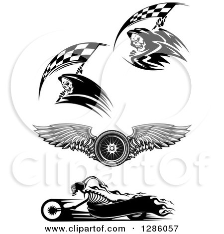 Clipart of Black and White Racing Grim Reapers, a Winged Tire and Skeleton Biker - Royalty Free Vector Illustration by Vector Tradition SM