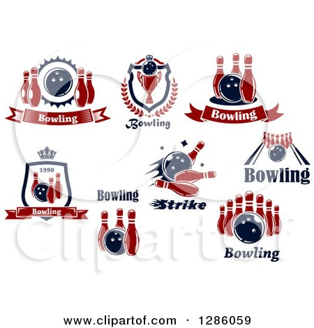clipart of red and navy blue bowling alley designs royalty free vector illustration by vector. Black Bedroom Furniture Sets. Home Design Ideas