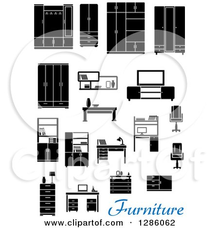 Clipart of Black and White Household Furniture with Blue Text - Royalty Free Vector Illustration by Vector Tradition SM