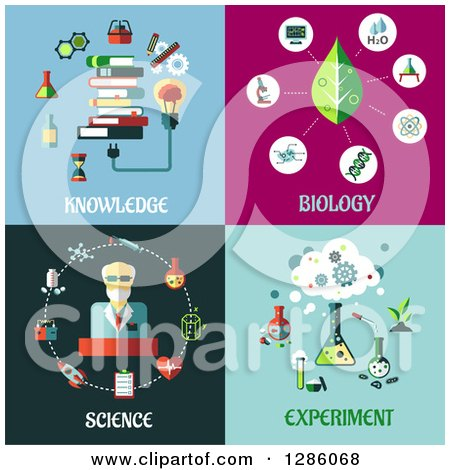 Clipart of Knowledge, Biology, Science and Experiment Designs - Royalty Free Vector Illustration by Vector Tradition SM