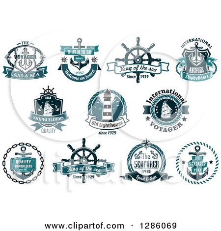 Clipart of Teal Nautical Maritime Designs - Royalty Free Vector Illustration by Vector Tradition SM