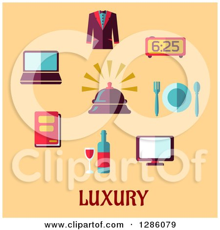 Clipart of Luxury Items and Text on Pastel Orange - Royalty Free Vector Illustration by Vector Tradition SM