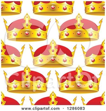 Clipart of a Seamless Pattern Background of Gold and Ruby Crowns on White - Royalty Free Vector Illustration by Vector Tradition SM