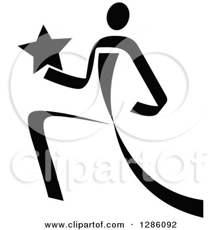 Clipart of a Black and White Ribbon Person Running with a ...