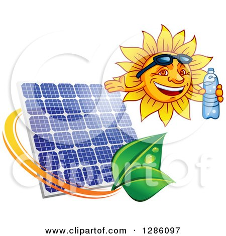 Clipart of a Happy Sun Holding a Water Bottle over a Solar Panel and Leaves - Royalty Free Vector Illustration by Vector Tradition SM