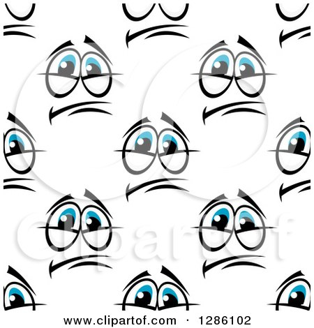 Clipart of a Seamless Pattern Background of Pleading Blue Eyes - Royalty Free Vector Illustration by Vector Tradition SM