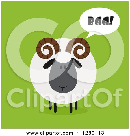 Clipart of a Modern Flat Design Round Fluffy Black Ram Sheep Baaing on Green - Royalty Free Vector Illustration by Hit Toon