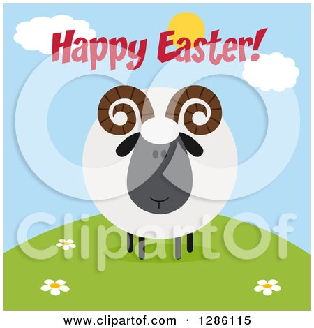 Clipart of a Modern Flat Design Round Fluffy Black Ram Sheep on a Hill with Happy Easter Text - Royalty Free Vector Illustration by Hit Toon