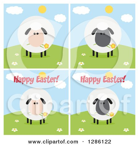 Clipart of Modern Flat Designs of Round Fluffy White and Black Sheep on Hills, Some with Happy Easter Text - Royalty Free Vector Illustration by Hit Toon