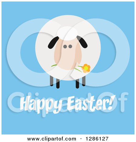 Clipart of a Modern Flat Design Round Fluffy Sheep Eating a Flower over Happy Easter Text on Blue - Royalty Free Vector Illustration by Hit Toon