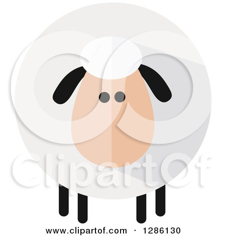 Clipart of a Modern Flat Design Round Fluffy White Sheep with Black Ears and Legs and Shading - Royalty Free Vector Illustration by Hit Toon