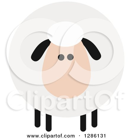 Clipart of a Modern Flat Design Round Fluffy White Sheep with Black Ears and Legs - Royalty Free Vector Illustration by Hit Toon