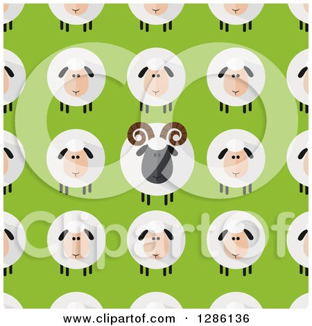 Clipart of a Background Pattern of Modern Flat Design Round Fluffy White and Black Sheep and Rams on Green - Royalty Free Vector Illustration by Hit Toon