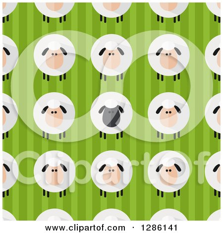Clipart of a Background Pattern of Modern Flat Designed Fluffy Black and White Sheep over Green Stripes - Royalty Free Vector Illustration by Hit Toon