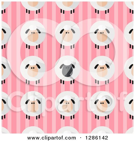 Clipart of a Background Pattern of Modern Flat Designed Fluffy Black and White Sheep over Pink Stripes - Royalty Free Vector Illustration by Hit Toon