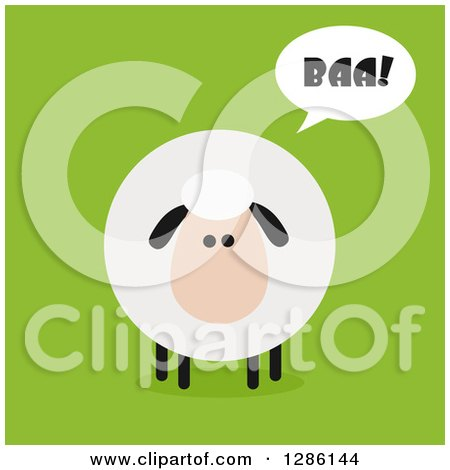 Clipart of a Modern Flat Design Round Fluffy Sheep Saying Baa on Green - Royalty Free Vector Illustration by Hit Toon