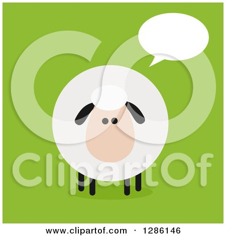 Clipart of a Modern Flat Design Round Fluffy Sheep Talking on Green - Royalty Free Vector Illustration by Hit Toon