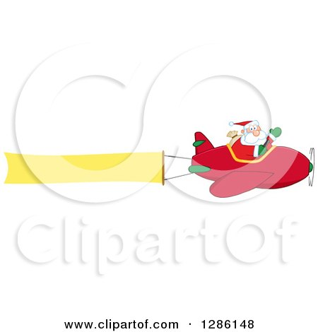 Clipart of Santa Claus Waving and Flying a Christmas Plane with a Blank Aerial Banner - Royalty Free Vector Illustration by Hit Toon